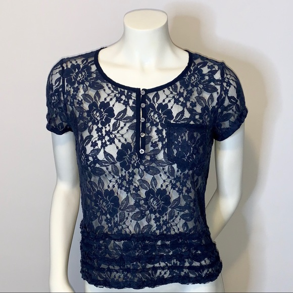 Hollister Tops - Hollister Sheer Floral Lace Cropped Tee Shirt